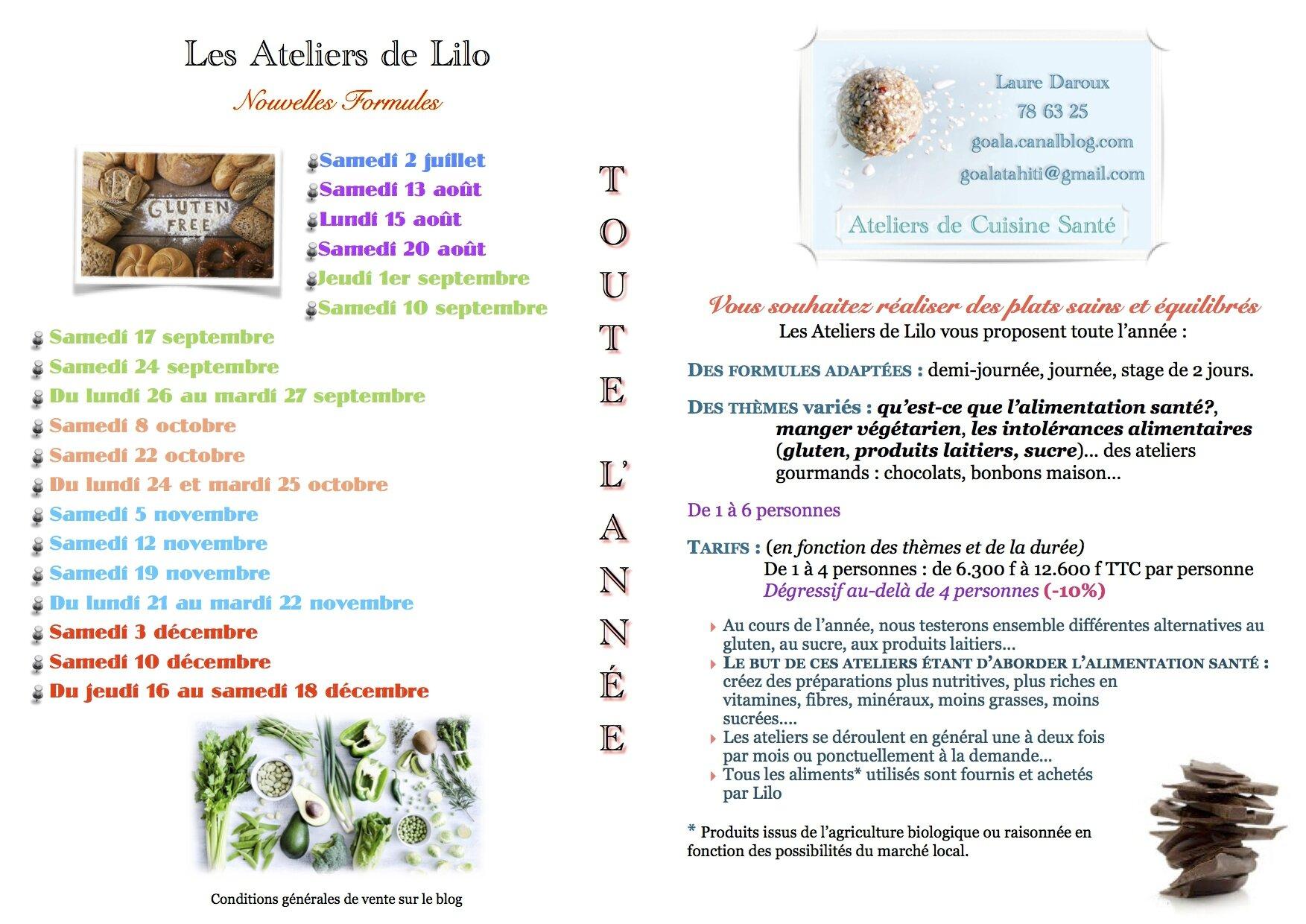 Les Ateliers de Cuisine Santé de Lilo - planning annuel