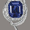 An octagonal-cut burmese sapphire brooch of 47.15 carats, by mellerio