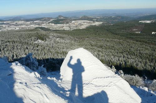2008 11 27 Voici mon ombre sur la neige au sommet du Lizieux