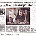 Article dans le populaire du 27 11 12