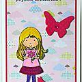 Une fillette blonde colorisée ... un papillon ... un chaton ... une carte d'anniversaire pour fille !!