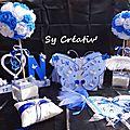 Ensemble mariage theme papillon bleu et blanc