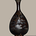 A Henan russet-painted black-glazed pear-shaped vase, yuhuchunping, Jin dynasty (1115-1234)