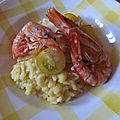 Risotto milanese with tomatoes and king prawns