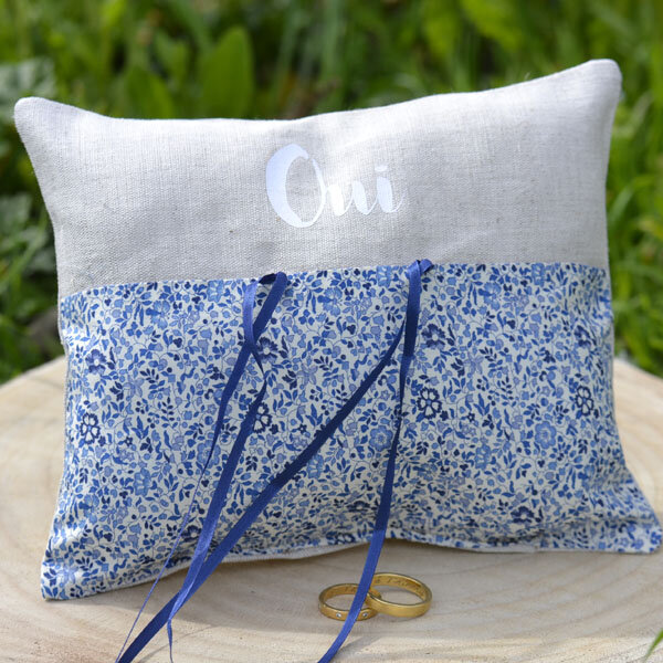 Coussin alliance, mariage, liberty of london, Kattie and Millie, lin