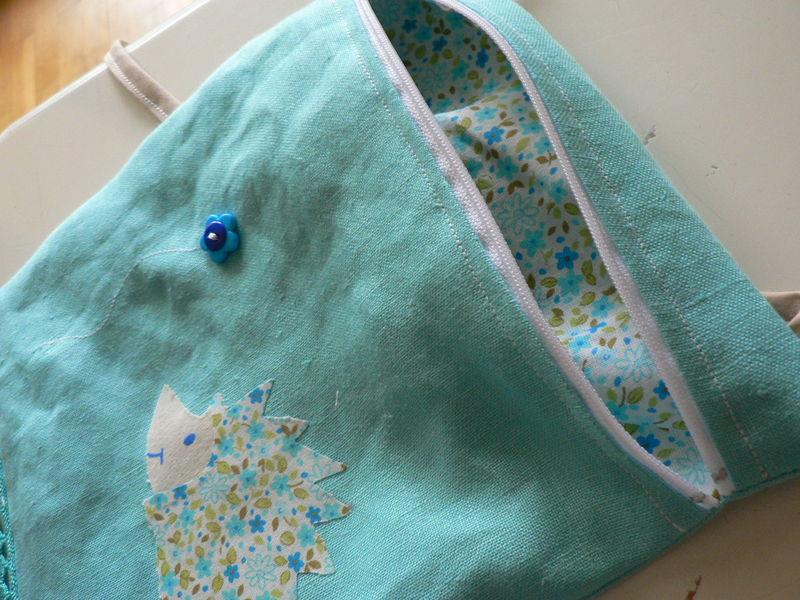 Grande pochette hérisson turquoise