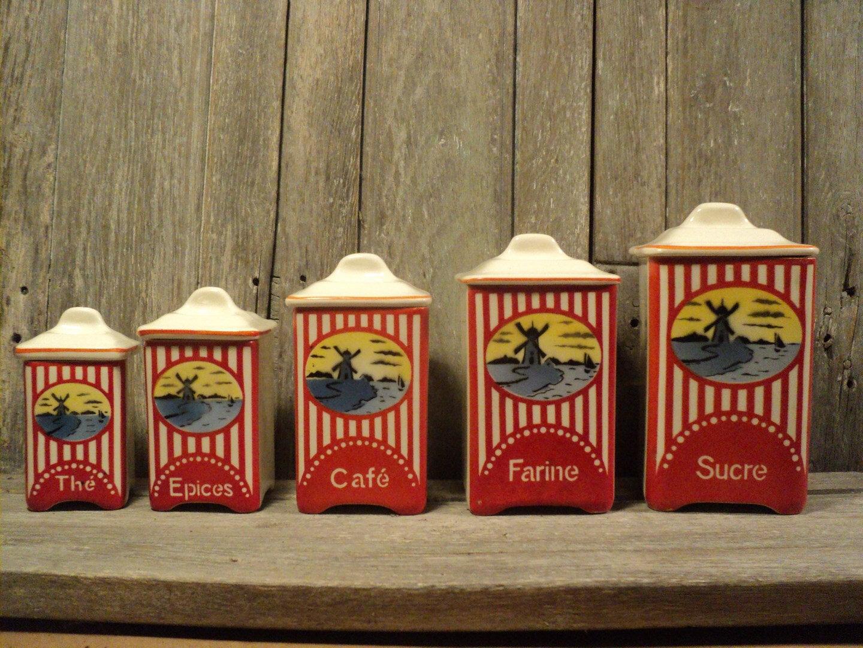 Série de Pots à Épices Décor Moulin à Vent Faïence Czechoslovakia 1930 Art Déco