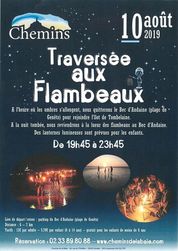 Baie du Mont-Saint-Michel, 10 août 2019: marche aux flambeaux sur la grève…