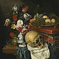 Flemish school, 17th century, vanitas still life with a vase of flowers, plate of fruit, skull, and box of jewels on draped wood
