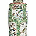 A large and finely decorated famille verte rouleau vase, Kangxi period (1662-1722)