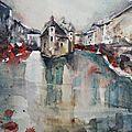 Aquarelle des Vieilles Prisons à <b>Annecy</b>, par Vanessa Renoux