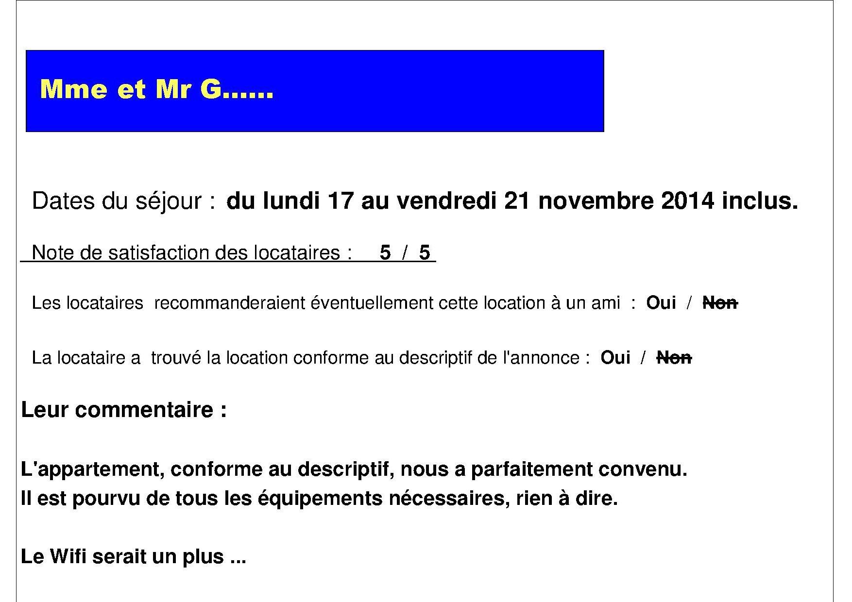 fiche appréciation mme et mr G, du 17 au 22 novembre 2014