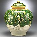 A sancai glazed covered jar, Tang Dynasty