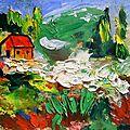 Peinture a l'huile au couteau paysage de montagne