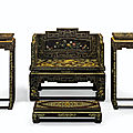 A very rare Imperial hardstone-inlaid, gilt-decorated lacquer throne <b>setting</b>, 19th century