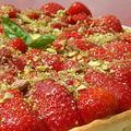 Tarte aux <b>fraises</b>/<b>basilic</b> et mascarpone