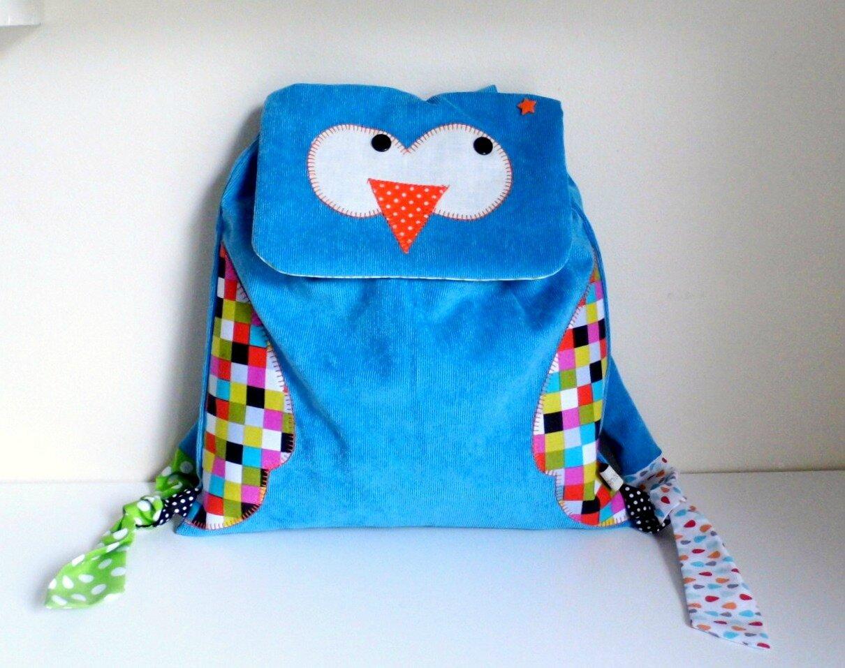 sac à dos chouette hibou pour l'école maternelle bleu turquoise personnalisable