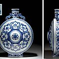 A large Ming-style <b>blue</b> and white moonflask, Qianlong seal mark in underglaze <b>blue</b> and of the period (1736-1795)