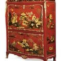 A Louis XV ormolu-mounted Chinese <b>red</b> <b>and</b> <b>gilt</b> lacquer <b>and</b> vernis Martin secrétaire à abattant. Attributed to Francois Rubestuck