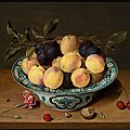 <b>Isaac</b> <b>Soreau</b> (Hanau 1604 - after 1638), A still life with peaches and plums in a dish.