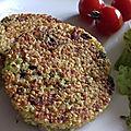 Galettes brocoli-quinoa et jambon, sauce ail nouveau et herbes