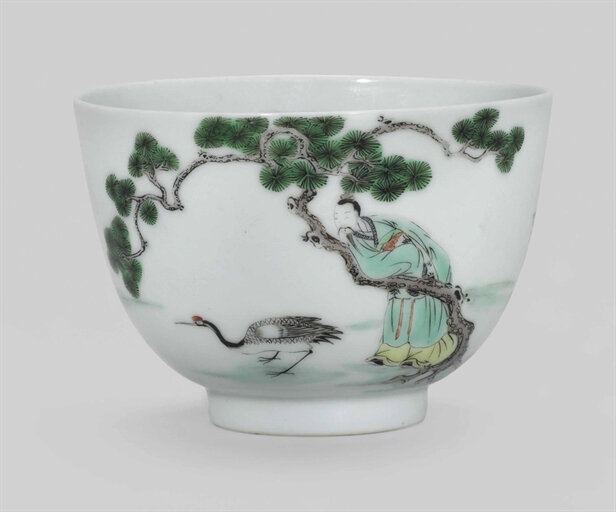 A famille verte 'Scholar and Crane' cup, Kangxi six-character mark in underglaze blue in a double circle and of the period (1662-1722)