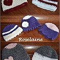 7 bonnets prémas au crochet
