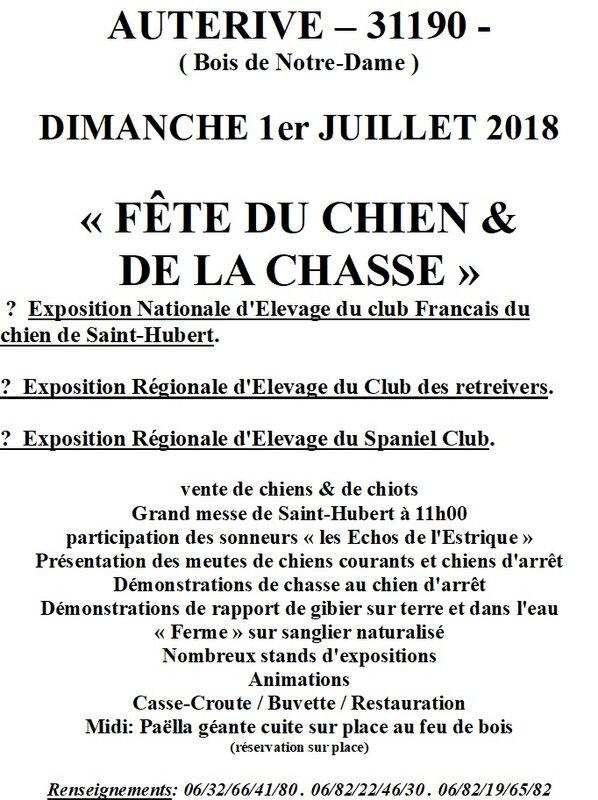 FETE DE LA CHASSE - programme 2018