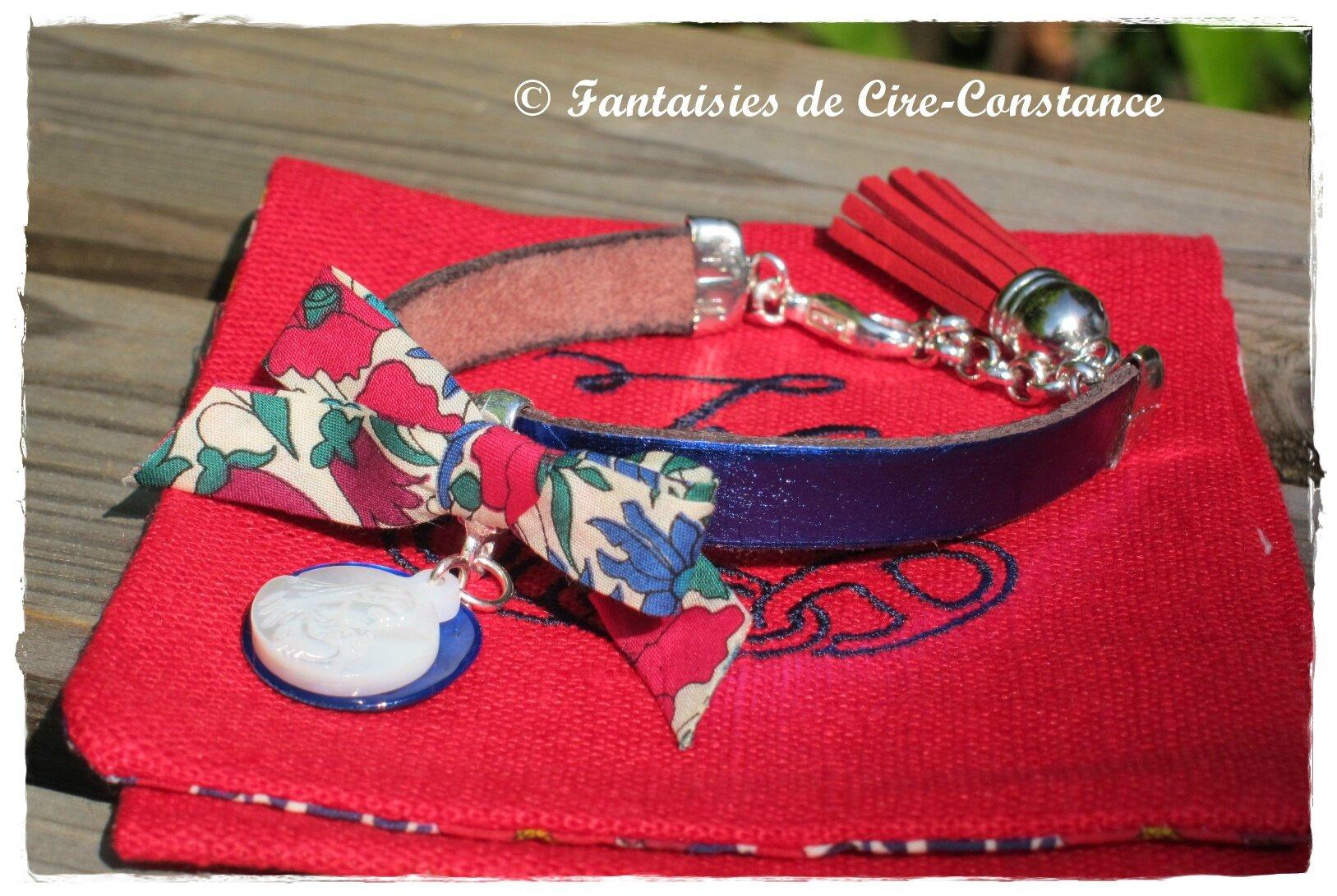 Bracelet Diane bleu nacre rouge