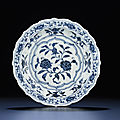 An early ming blue and white small barbed-rim dish, yongle period (1403-1425)