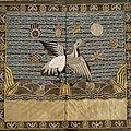 An embroidered silver pheasant 9th rank badge & a kesi military 2nd rank badge, china, 19th ct.