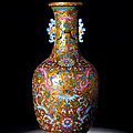 A Rare Gold-Ground Famille-Rose 'Chilong' Vase, <b>Qianlong</b> Period, 1736-1795