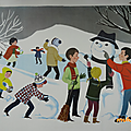 Collection ... <b>Affiches</b> scolaires NATHAN 1966 * SCENES D'HIVER
