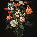 <b>Balthasar</b> <b>van</b> <b>der</b> As, Still life of mixed flowers in a glass vase, with three shells, a grasshopper and a spider on a tabletop