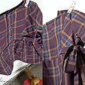 Colombine en coton violet à carreaux