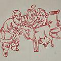 Redwork : Père Noël et son renne (détail)