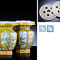 An exquisite pair of imperial <b>Beijing</b> <b>enamel</b> facetted vases, Yongzheng blue-<b>enamel</b> four-character marks within double squares an