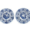 A pair of large blue and white <b>Dutch</b>-<b>Market</b> armorial dishes, Kangxi period (1662-1722)
