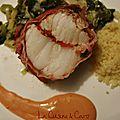 Rôti de Lotte au piment d'<b>espelette</b> sur fondue de poireaux