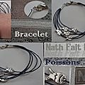 Bracelet coton ciré, poissons