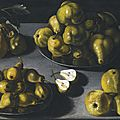 <b>Spanish</b> School, First half of the 17th century, Still life with quinces and pears arranged on a stone table top