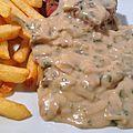 Rumsteak sauce crème-champignons