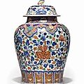 A large chinese export verte-imari jar and cover, kangxi period