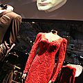 Lupe Lamora's dress created by Oscar de La Renta. «Licence to Kill» 1989. In the background, on the screen: «Le Chiffre» played by Mads Mikkelsen in «Casino Royale» 2006. Photo: Olivier Daaram Jollant © 2016