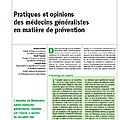 Pratiques et opinions des <b>médecins</b> <b>généralistes</b> en matière de prévention