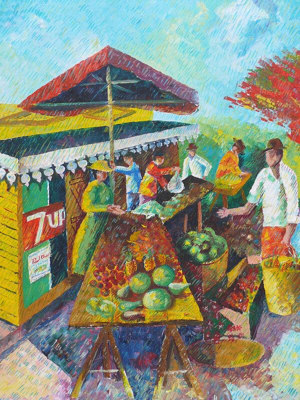 373-Scène du marché à la Reunion