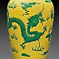 A yellow and green-glazed 'Dragon'meiping, 19th century