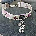 <b>Bracelet</b> fille en tissu satin papillons roses, mauves et violets