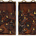 An extremely rare and magnificent pair of gilt-bronze inset hongmu '<b>luohan</b>' panels, Qing dynasty, Qianlong period (1736-1795)