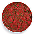 A superbly carved cinnabar lacquer '<b>magpie</b>' tray signed Yang Mao, Yuan dynasty (1279-1368)